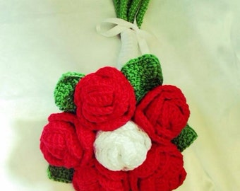 Original bridal bouquet, red roses and white cotton