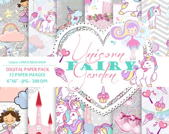 Unicorn Rainbow Fairy Digital Paper Pack Instant Download Printable Baby Girl Pink Blue Mint Unicorn Rainbow Fairy Princes Girl Clouds 6x6""