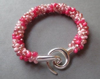 Multi pink colored Kumihimo bracelet