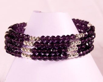 Purple glass and silver memory wire bracelet