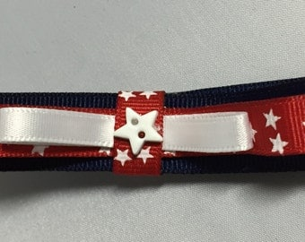 Patriotic red, white & blue stars hair bow