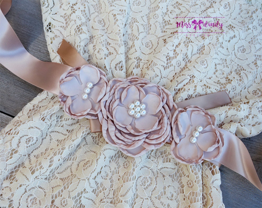 Lace Flower Girl dress , Lace Flower Girl Dress Set- Lace Champagne flower girl dress & Sash Belt -Rustic Girls Dress- Junior Bridesmaid