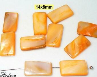 10 Pearl rectangle 14x8mm orange (K910. 3)