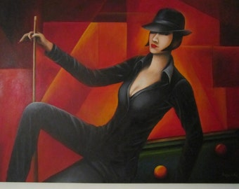Lady in the hat on the pool table. End of the game