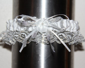 Silver and White Homecoming, Wedding, or Prom Garter