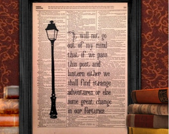 Narnia Lamp Post quote, from The Lion, the Witch and the Wardrobe by C. S. Lewis | Vintage Wall Art, 8.5x11 Print