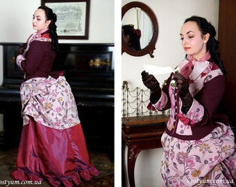 1870s Women Promenade Dress Victorian Suit Reenactment
