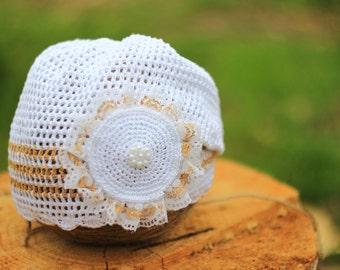 Нat, baby girl yellow hat, baby white hat, baby photo prop, flower Cap, crochet baby hat, newborn girl hat, newborn flower hat, yellow white