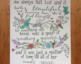 Floral Watercolor Painting - Inspirational Quote
