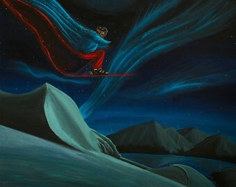 Skier Flying Through the Sky, Acrylic Painting.  Hand Painted, Original Artwork. Surreal Dreamscape and Snow Ski Landscape.