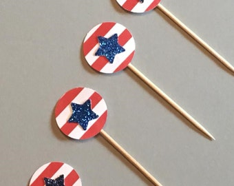 12 Star Cupcake Toppers Fourth of July Glitter Cupcake Toppers Birthday Cupcake Toppers Shower Cupcake Toppers Holiday Cupcake Toppers