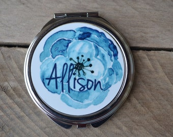 Bridesmaid gift, wedding favor, compact mirror, personalized