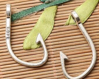 8pcs dark silver color fish hook design charms EF2729