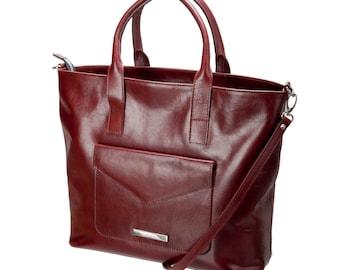 Cognac leather handbag-shoulder bag-calfskin leather handbag