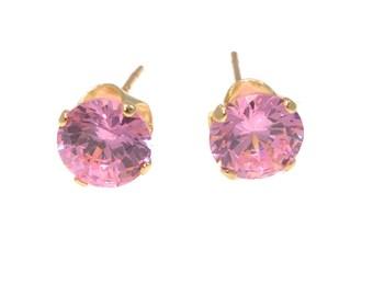 14K solid Gold Earrings, Pink earrings, Gold Stud Earrings, Gold Studs, Gold Jewelry, Pink Studs, 14k Gold Earrings, Pink cubic zircon