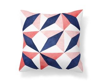 Throw Pillow Geometric, Decroative Pillow, navy pillow, white pillow, pink pillow, red pillow, blue pillow