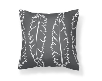 Throw Pillow Feather, Decroative Pillow, Feather Pillow, grey pillow, white feather, grey feather