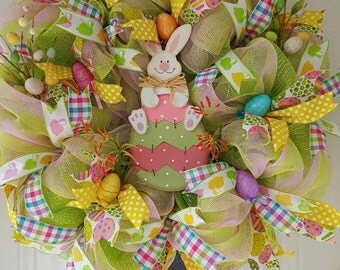 Easter Bunny Lime green and pink deco mesh wreath