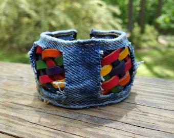 Upcycled Denim and Leather Bracelet