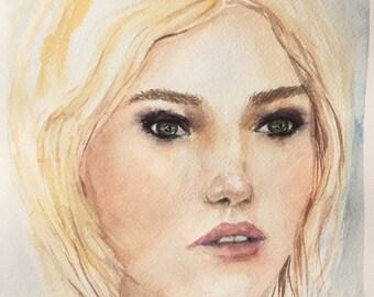 Portrait of a Woman, Watercolour Painting, Original Artwork