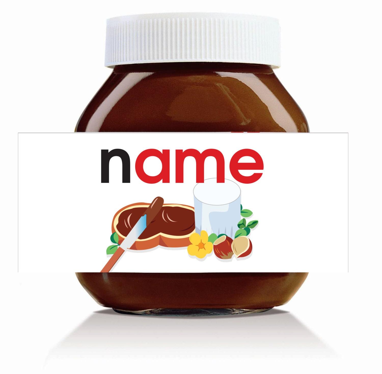 3 x Personalised Original Name Theme for 750g Nutella Jar