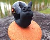 Intellectual Lil Critter #6 Handbuilt Ceramic Beautiful Black Stoneware Snail Sculpture Collectible Paperweight