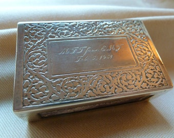 Vintage Tiffany Sterling Matchbox Cover - 1930s Silver Matchbox Cover - Vintage Tobacciana - Smoker Memorabilia -Vesta - Tiffany Collectible