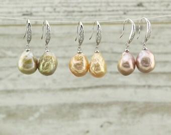 Diamonds sterling silver keshi pearls earrings, drop earrings, dangle earrings, silver earrings, pearl earrings, wedding earrings, E 133-1
