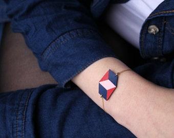 "Leather bracelet ""Delta"" no2"