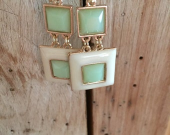 Green and cream earrings