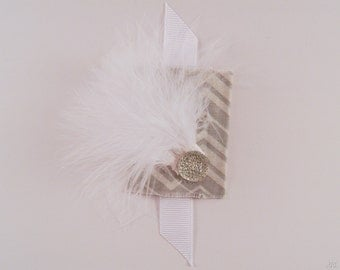 Gray & White Embellished Large Hair Clip