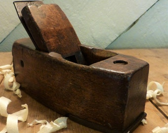 """8"""" Wooden Block Plane with Steel Toe-plate/Vintage Wooden Plane/Old Woodworking Tool"""