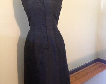 Black silk 50s shirtwaist dress. Small