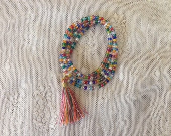 Seed Bead 3in1 wrap bracelet, necklace and wrap anklet with tassel