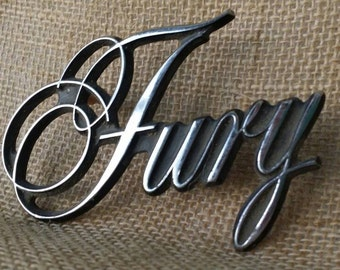 Plymouth 1975 Fury  Emblem Scripted Fender Chrome Automobile Collectibles Vintage Car Man Cave Vintage 1970 Old Car Enthusiast Car Buff