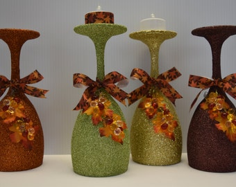 Beautiful Fall/Autumn/Thanksgiving Colored Handmade Glittered Wine Glass Tealight Holder