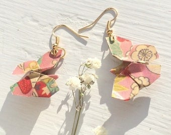 Pink Floral Origami Butterfly Earrings