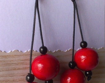 Red Wooden Earrings