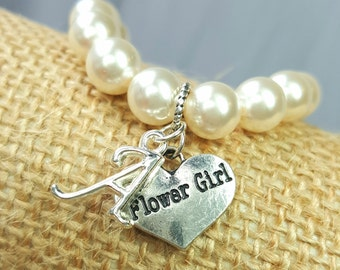 Personalized Flower Girl Bracelet, Initial Wedding Child Bracelet, Flower Girl Gift, Letter A-Z Initial Monogram Charm, Personalized Letter