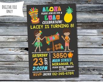 Luau Invitation / Luau Birthday Invitation / Pool Party Invitation (Personalized) Digital Printable File