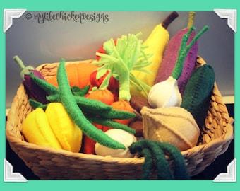 Basket of Felt Fruit & Veges