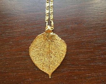 """24 KT GOLD Aspen Leaf Pendant Necklace, Real Leaf """"dipped"""" in 24 Kt GOLD with 24-26 inch Adjustable Chain, Free Shipping"""