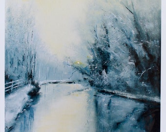 Giclee Print, Landscape art, Winter, Snow, Blue, White, Art Print, Art Gift, Wall Art, Home Decor
