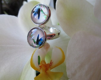 RING DOUBLE CABOCHONS blue butterflies