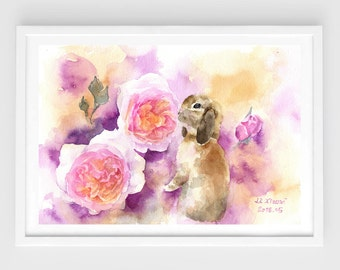 "Original watercolor,bunny with flowers,pet painting,7""x10"",home decor"