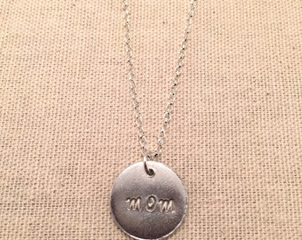 "Aluminum ""mom"" pendant necklace"