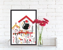Printable Art, Printable Funny Illustration of a Cat and Bird , Cat and Bird, Wall Decoration, Wall Art, Animals for Children's Rooms,