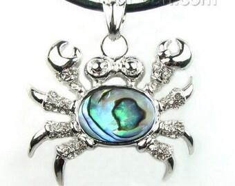 Abalone shell pendant, crab paua shell pendant necklace, sea shell pendant jewelry, natural abalone paua pendant, SH1560-AP