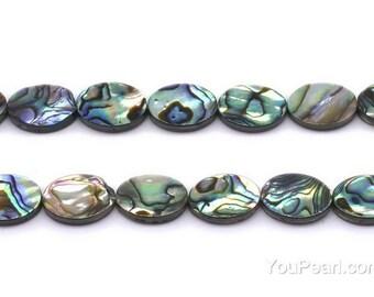 10x14mm oval shell beads, abalone paua shell, paua beads strand, fine ablone shell beads, loose shell for making necklace, ABA1045