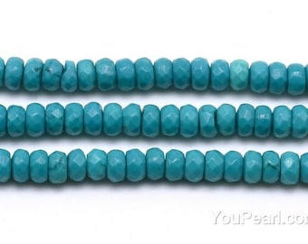Turquoise beads, 3x4mm roundel faceted, loose turquoise stone, gemstone beads, natural stone gem strand for jewelry making, TQS1110